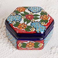 Ceramic decorative box, 'Floral Hexagon' - Ceramic Decorative Box with Colorful Floral Motifs