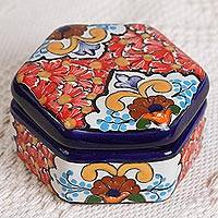 Ceramic decorative box, 'Hexagon Bouquet' - Ceramic Decorative Box with Red Floral Motifs from Mexico