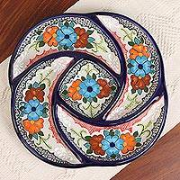 Ceramic appetizer dish, 'Spiral Bouquet' - Hand-Painted Floral Ceramic Appetizer Dish from Mexico