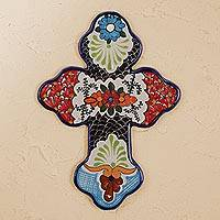 Ceramic wall cross, 'Faithful Bouquet' - Hand-Painted Floral Talavera Ceramic Wall Cross from Mexico