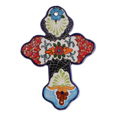 Hand-Painted Floral Talavera Ceramic Wall Cross from Mexico