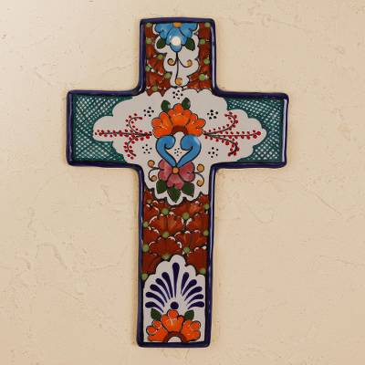 Ceramic wall cross, Faithful Talavera