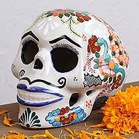 Ceramic sculpture, 'Blue Lips' - Talavera Ceramic Skull Sculpture with Blue Lips from Mexico