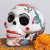 Ceramic sculpture, 'Red Lips' - Talavera Ceramic Skull Sculpture with Red Lips from Mexico