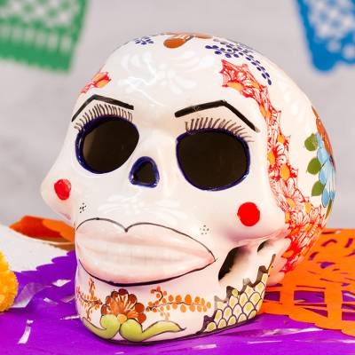 Ceramic sculpture, 'Soft Pink Lips' - Talavera Ceramic Skull Sculpture from Mexico