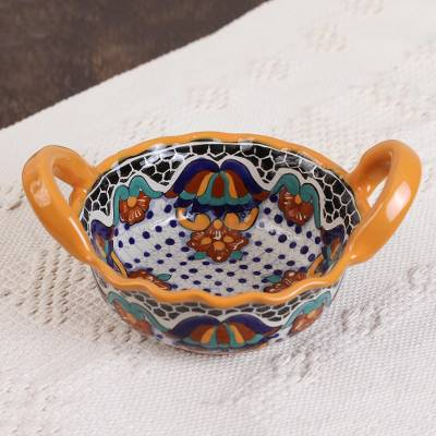 Ceramic serving bowl, 'Zacatlan Flowers' - Talavera Style Ceramic Serving Bowl from Mexico