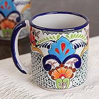 Large ceramic beer steins, 'Zacatlan Bouquet' (pair) - Talavera Large Ceramic Beer Steins from Mexico (Pair)