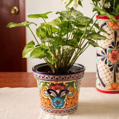 Ceramic flower pot, 'Bright Blue Petals' - Hand-Painted Floral Ceramic Flower Pot from Mexico