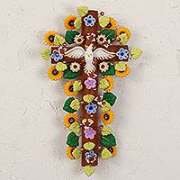 Ceramic wall cross, 'Cross of Faith' - Handcrafted Floral Ceramic Wall Cross from Mexico