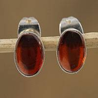 Amber stud earrings, 'Antique Ovals' - Oval Amber Stud Earrings Crafted in Mexico