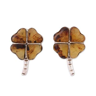 Amber Four-Leaf Clover Button Earrings from Mexico