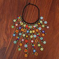 Glass beaded waterfall necklace, 'Beautiful Rain' - Floral Glass Beaded Waterfall Necklace from Mexico
