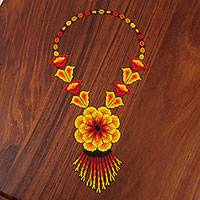Glass beaded pendant necklace, 'Burning Passion' - Floral Glass Beaded Pendant Necklace from Mexico