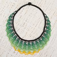Glass beaded pendant necklace, 'Verdant Bead Waves' - Handcrafted Glass Beaded Pendant Necklace from Mexico