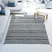 Wool area rug, 'Mexican Confection' (6.5x9.5) - Striped Wool Area Rug in Taupe and Espresso from Mexico