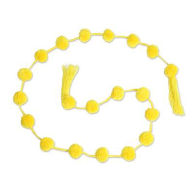 Bright Yellow Cotton Pompom Handcrafted Garland from Mexico