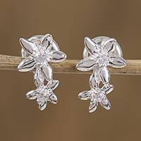 Sterling silver drop earrings, 'Dreamy Flowers' - Floral Sterling Silver Drop Earrings from Mexico