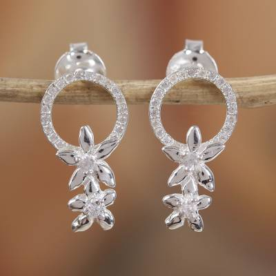 Sterling silver drop earrings, 'Floral Light' - Circular Floral Sterling Silver Drop Earrings from Mexico
