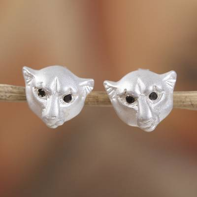 Sterling silver button earrings, 'Panther Gaze' - Sterling Silver Panther Button Earrings from Mexico