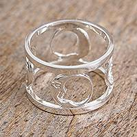 Sterling silver band ring, 'Moonlight Dream' - Moon Motif Sterling Silver Band Ring from Mexico