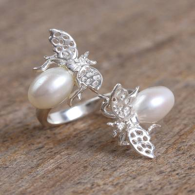 Cultured pearl wrap ring, 'Dreamy Bees' - Cultured Pearl Bee Wrap Ring from Mexico