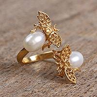 Gold plated cultured pearl wrap ring, 'Dreamy Bees' - Gold Plated Cultured Pearl Bee Wrap Ring from Mexico