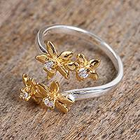 Gold accented sterling silver wrap ring, 'Winter Flowers' - Floral Gold Accented Sterling Silver Wrap Ring from Mexico