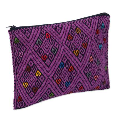 Diamond Motif Cotton Clutch in Amethyst from Mexico
