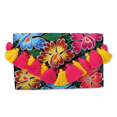 Multicolored Embroidered Floral Cotton Clutch from Mexico