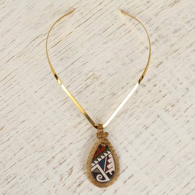 Gold plated ceramic collar necklace, 'Ancestral Drop' - 18k Gold Plated Ceramic Collar Pendant Necklace from Mexico