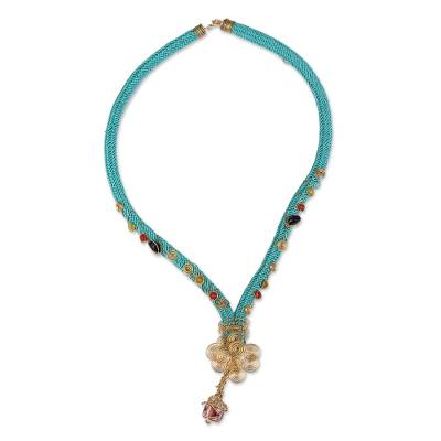 18k Gold Plated Agate Pendant Necklace from Mexico