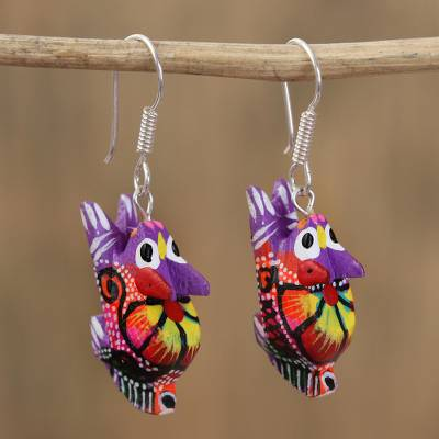 Wood alebrije dangle earrings, 'Vibrant Rabbit in Purple' - Floral Wood Alebrije Rabbit Dangle Earrings in Purple