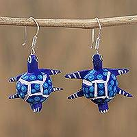 Wood alebrije dangle earrings, 'Dotted Turtle in Blue' - Wood Alebrije Turtle Dangle Earrings in Blue from Mexico