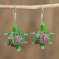 Wood alebrije dangle earrings, 'Dotted Turtle in Green' - Wood Alebrije Turtle Dangle Earrings in Green from Mexico