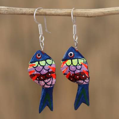 Wood alebrije dangle earrings, 'Sea Glitter in Blue' - Alebrije Wood Fish Dangle Earrings in Blue from Mexico