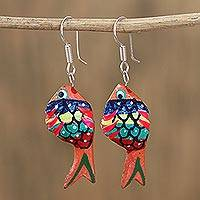 Wood alebrije dangle earrings, 'Sea Glitter in Peach' - Glittering Wood Alebrije Fish Dangle Earrings in Peach