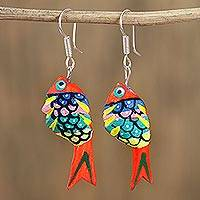 Wood alebrije dangle earrings, 'Fish Dream in Orange' - Hand-Painted Wood Alebrije Fish Dangle Earrings in Orange