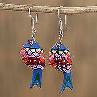 Wood alebrije dangle earrings, 'Fish Dream in Blue' - Hand-Painted Wood Alebrije Fish Dangle Earrings in Blue
