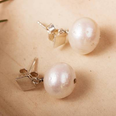 Cultured pearl dangle earrings, 'Enchantments of the Sea' - Cultured Freshwater Pearl Sterling Silver Dangle Earrings