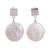 Cultured pearl dangle earrings, 'Seabound Treasure' - Cultured Keshi Pearl and Sterling Silver Dangle Earrings (image 2a) thumbail