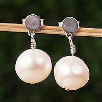 Cultured pearl dangle earrings, 'Elegant Treasure' - Cultured Pearl and Sterling Silver Circle Dangle Earrings