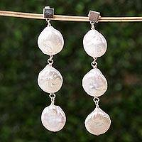 Cultured pearl dangle earrings, 'Cascade of Clouds' - Cultured Pearl Cascade and Sterling Silver Dangle Earrings
