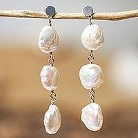 Cultured pearl dangle earrings, 'Sea Foam Cascade' - Cultured Pearl Trio and Sterling Silver Dangle Earrings