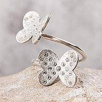 Sterling silver wrap ring, 'Fluttering Wings' - Sterling Silver Butterflies with Embedded Crystals Wrap Ring