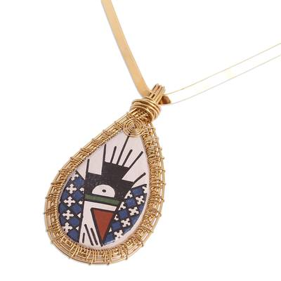 18k Gold Plated Ceramic Pendant Necklace from Mexico
