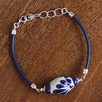 Ceramic pendant bracelet, 'Talavera Blue' - Talavera Ceramic and Leather Pendant Bracelet in Blue