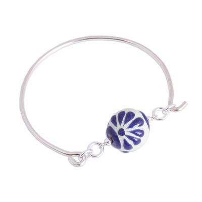 Blue Talavera Ceramic and Sterling Silver Pendant Bracelet