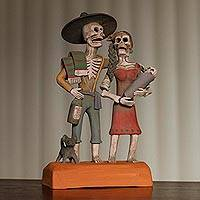 Ceramic statuette, 'Ancestor Family' - Handcrafted Skeleton Family Ceramic Statuette from Mexico