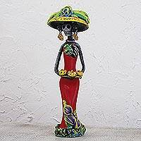 Ceramic statuette, 'Catrina's Sweet Tooth' - Day of the Dead Catrina Ceramic Figurine in Red Dress