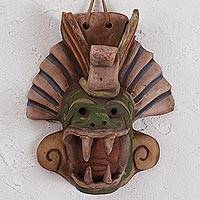 Ceramic mask, 'Quetzalcoatl Revered' - Earthtone Quetzalcoatl Handcrafted Ceramic Wall Mask